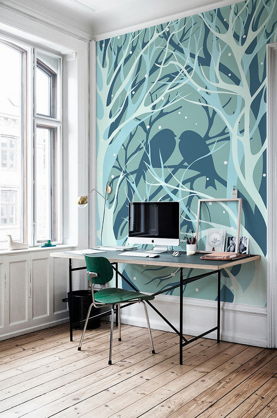 birds and trees wall mural
