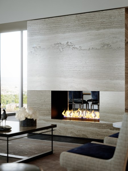 modern fireplace design ideas Luxury Waterfront Condominium With Expansive Views of NYC Skyline: One Riverside Park