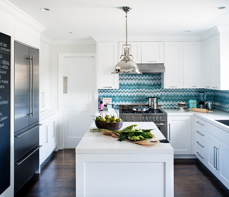 zigzag patterns in kitchen chevron and