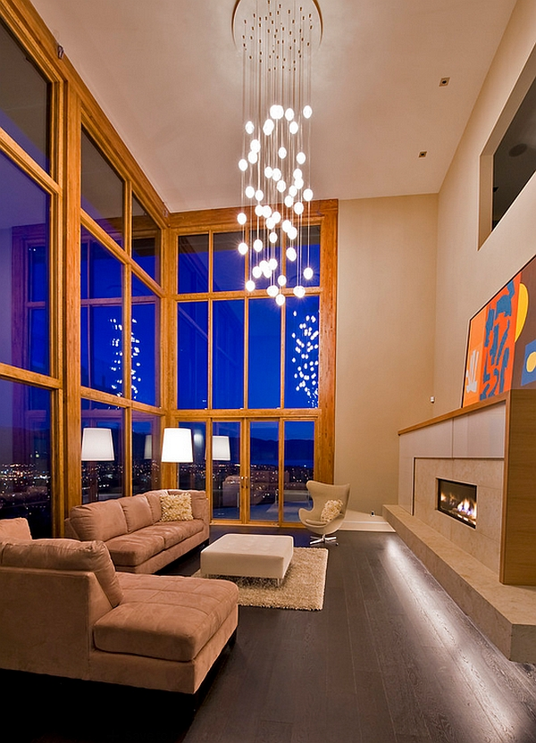 View In Gallery Elobarate Cascading Chandelier Living Room With High Ceiling
