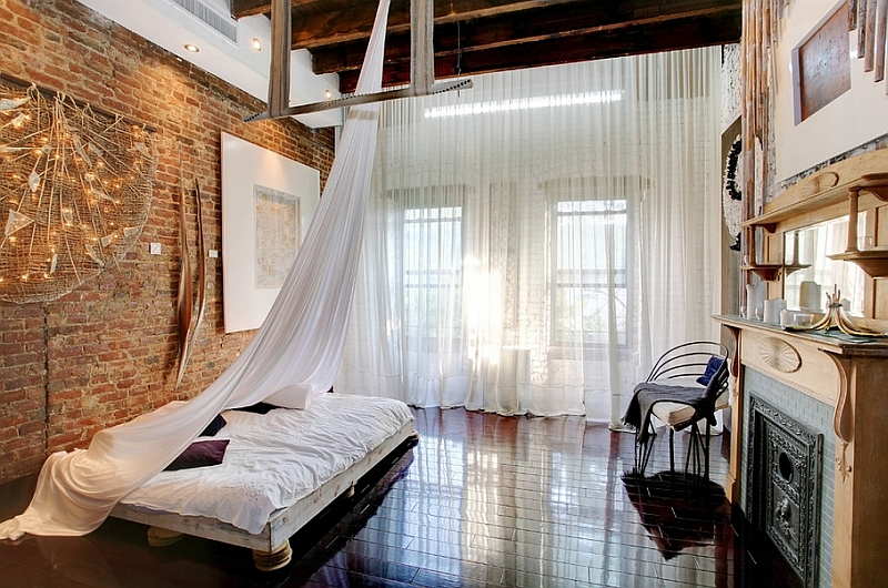 Sheer Curtains Ideas  Pictures  Design Inspiration View in gallery Industrial bedroom plays with multiple textures
