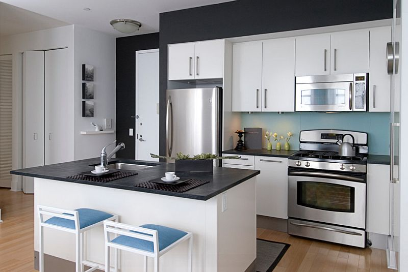 Black And White Kitchens  Ideas  Photos  Inspirations View in gallery A dash of blue in the black and white kitchen  by Kim  Depole Design