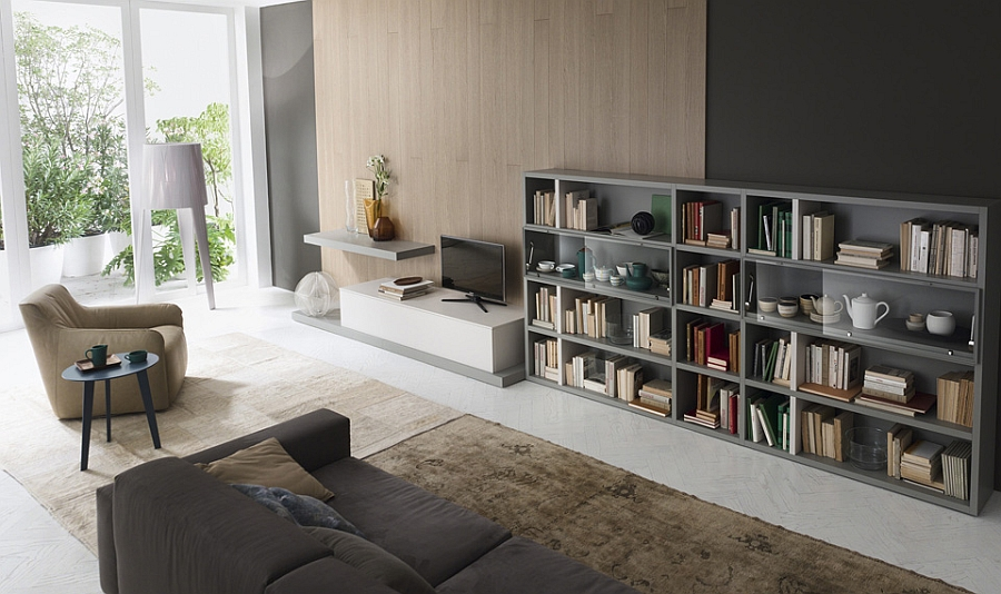 Contemporary Living Room Wall Units And Libraries, Ideas on Shelf Sconces For Living Rooms Contemporary id=61368