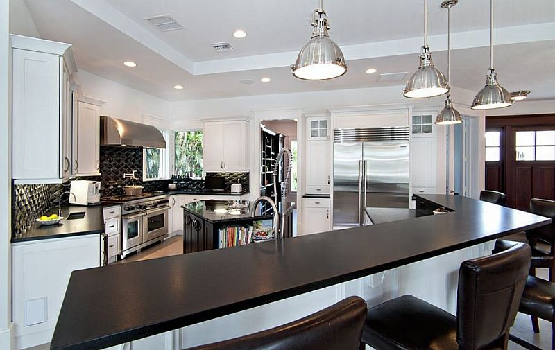 Black And White Kitchens: Ideas, Photos, Inspirations on Kitchens With Black Granite Countertops  id=90593