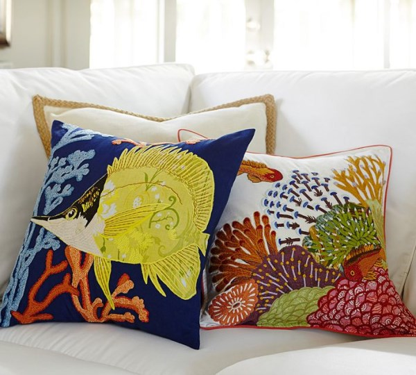 Embroidered pillow covers from Pottery Barn