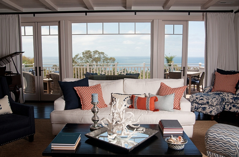Lovely coral accents bring visual lightness and complement the dark navy blues perfectly Hot Color Trends: Three Fashionable Hues That Serve You All Year Long Year Trends Three Serve Long Hues Fashionable Color
