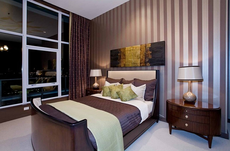 Luxurious bedroom brings together deep eggplant and light green in a subtle fashion Hot Color Trends: Three Fashionable Hues That Serve You All Year Long Year Trends Three Serve Long Hues Fashionable Color