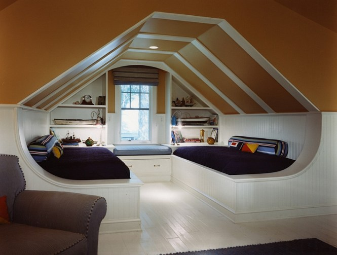 View In Gallery Using The Slanted Ceiling To Create A Dramatic Visual