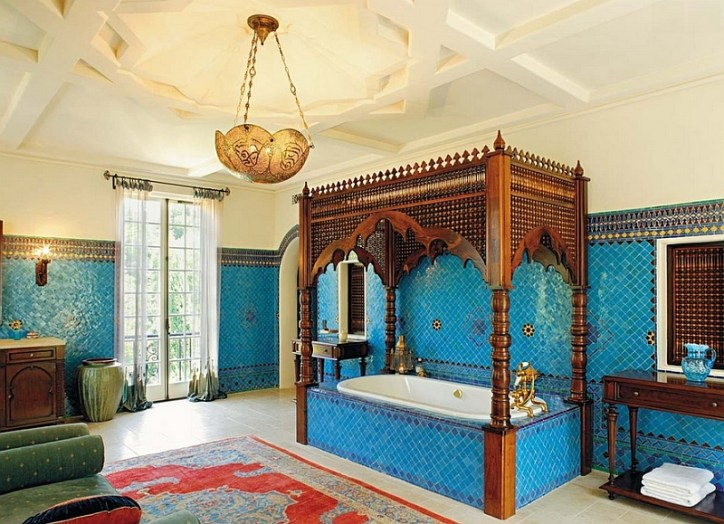Disney Home Decor Moroccan Bathroom Ideas Exotic Interior Design Bright Colors Carpets Chandelier Mosaic Tiles