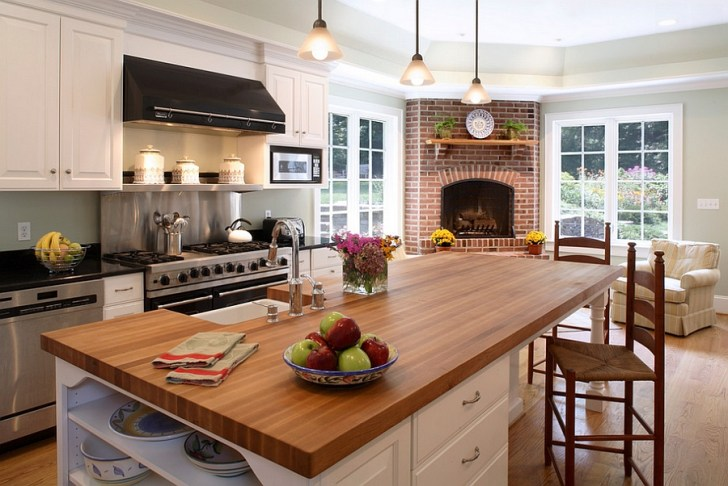 Traditional Kitchen Beautiful Corner Fireplace Design Owings