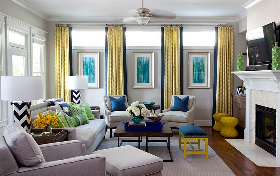 Yellow And Blue Interiors Living Rooms Bedrooms Kitchens Part 33