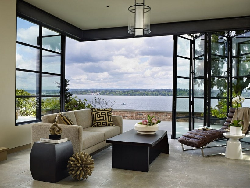 View In Gallery Floor To Ceiling Floding Glass Doors With Stainless Steel  Frame
