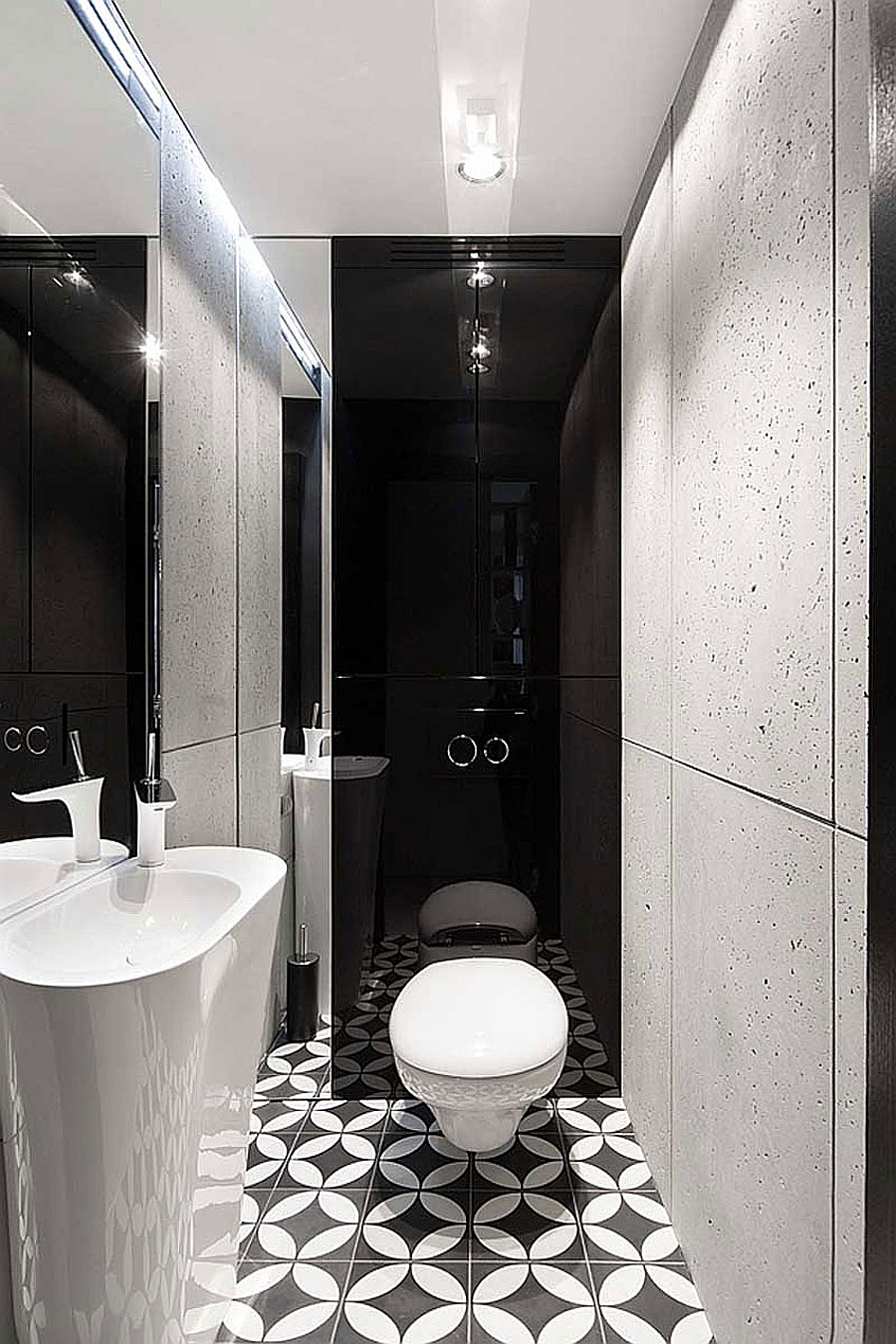 Posh Monochromatic Apartment by Widawscy Studio Architektury on Monochromatic Bathroom Ideas  id=63397