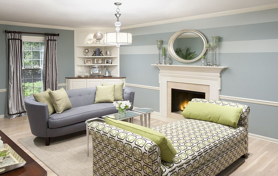 15 Fabulous Living Rooms With Striped Accent Walls Part 61