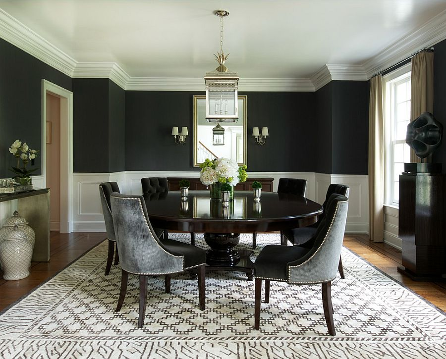 How to Use Black to Create a Stunning, Refined Dining Room on Dining Table Ceiling Design  id=13968