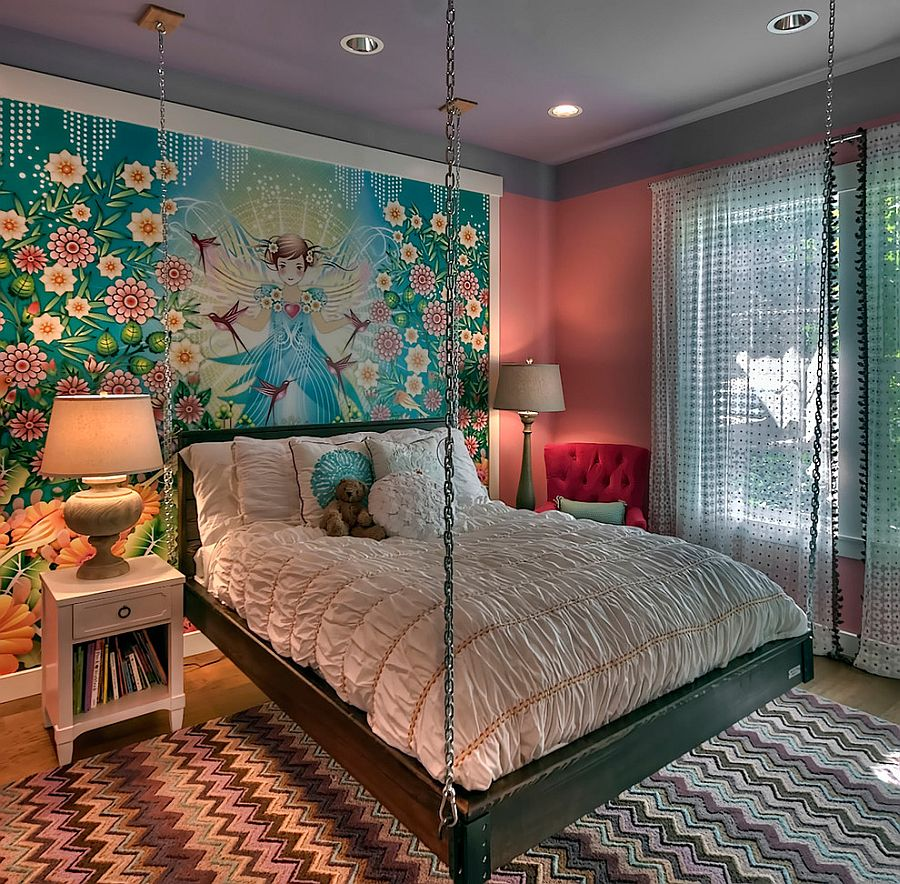 21 Creative Accent Wall Ideas for Trendy Kids' Bedrooms on Small Bedroom Ideas For Women  id=77407