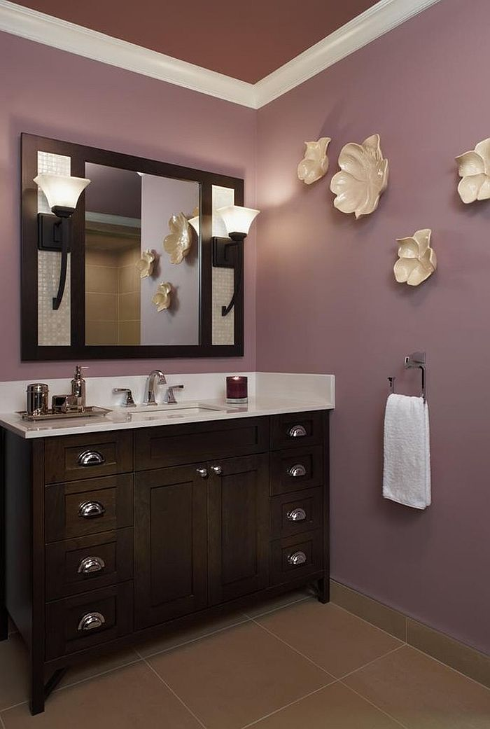 Bronze Purple And Gray Bathroom