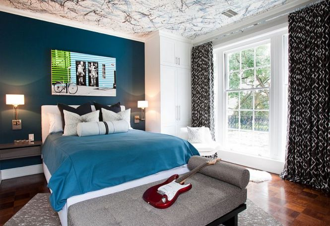 View In Gallery Posh Boys Bedroom With A Beautiful Blue Accent Wall And Creative Ceiling Design