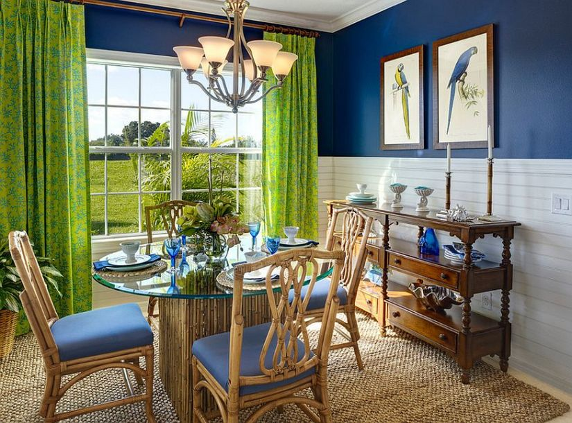 Blue and green give the room its tropical flavor [From: Neal Communities]