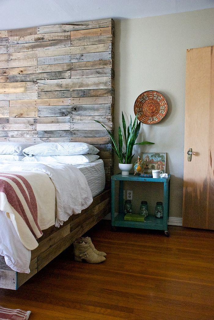 30 Ingenious Wooden Headboard Ideas for a Trendy Bedroom on Bedroom Pallet Ideas  id=37285