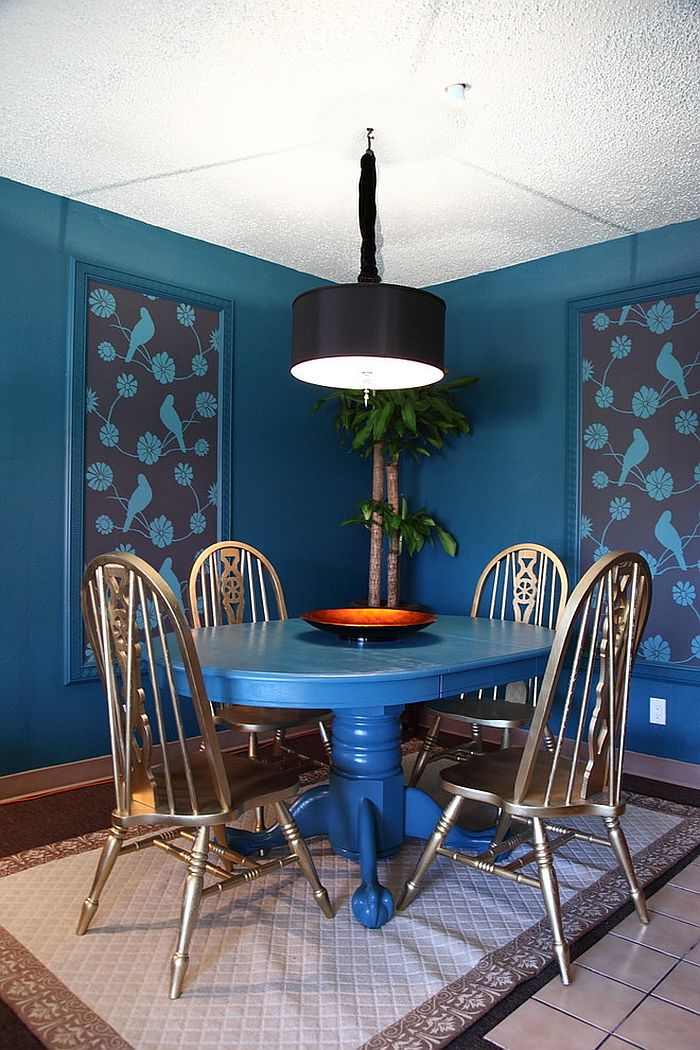 Eclectic dining room welcomes you into a world of blue! [From: Houzz / Becky Harris]
