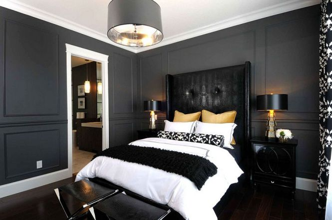 Interiors View In Gallery Sophisticated Use Of Black Gold And Gray The Bedroom Design Atmosphere Interior