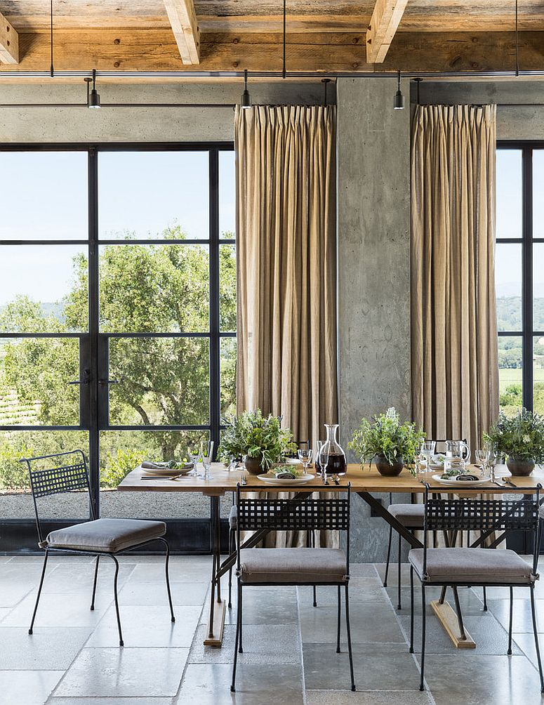 30 Unassumingly Chic Farmhouse Style Dining Room Ideas on Farmhouse Dining Room Curtains  id=21537