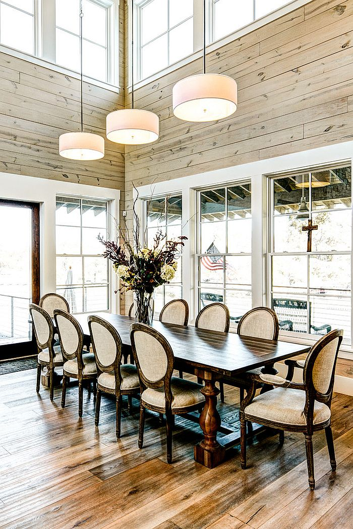 30 Unassumingly Chic Farmhouse Style Dining Room Ideas on Dining Table Ceiling Design  id=87059