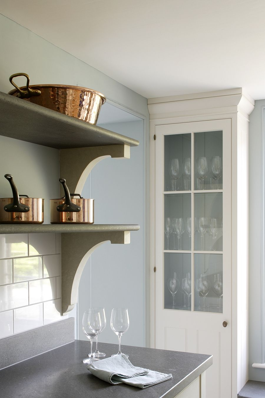 Italian Black Basalt stone used to craft the cool shelves in the kitchen