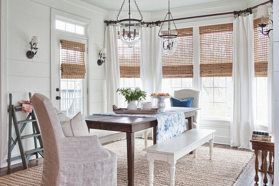 30 Unassumingly Chic Farmhouse Style Dining Room Ideas on Farmhouse Dining Room Curtains  id=98093
