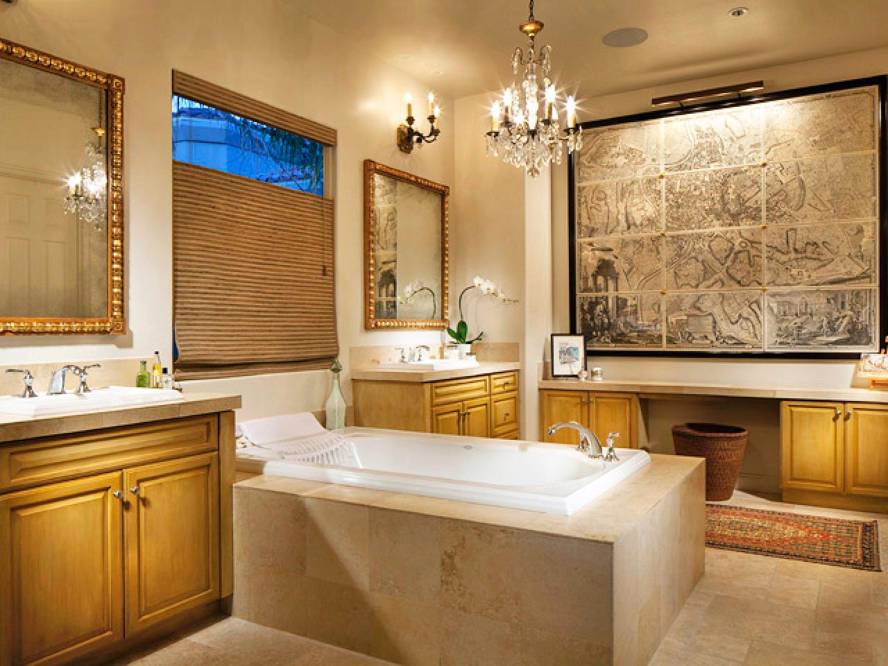 20 Luxurious Bathrooms with Elegant Chandelier Lighting on Small:e_D8Ihxdoce= Restroom Ideas  id=27781