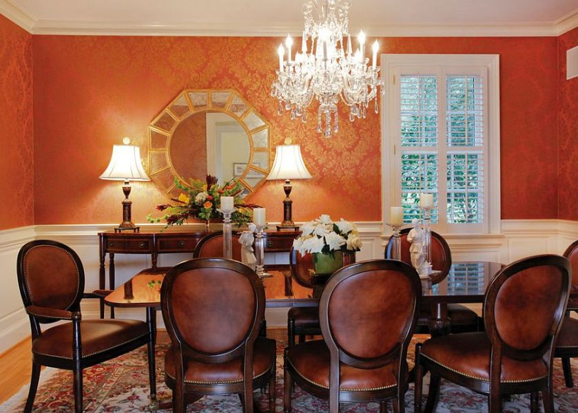 25 Trendy Dining Rooms with Spunky Orange View in gallery Wallpaper in orange and gold brings an air of luxury to the  classy dining room