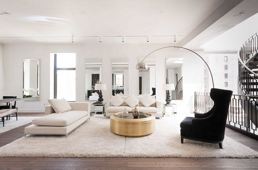 decor 101: black, white and gold living room {with tribal accents