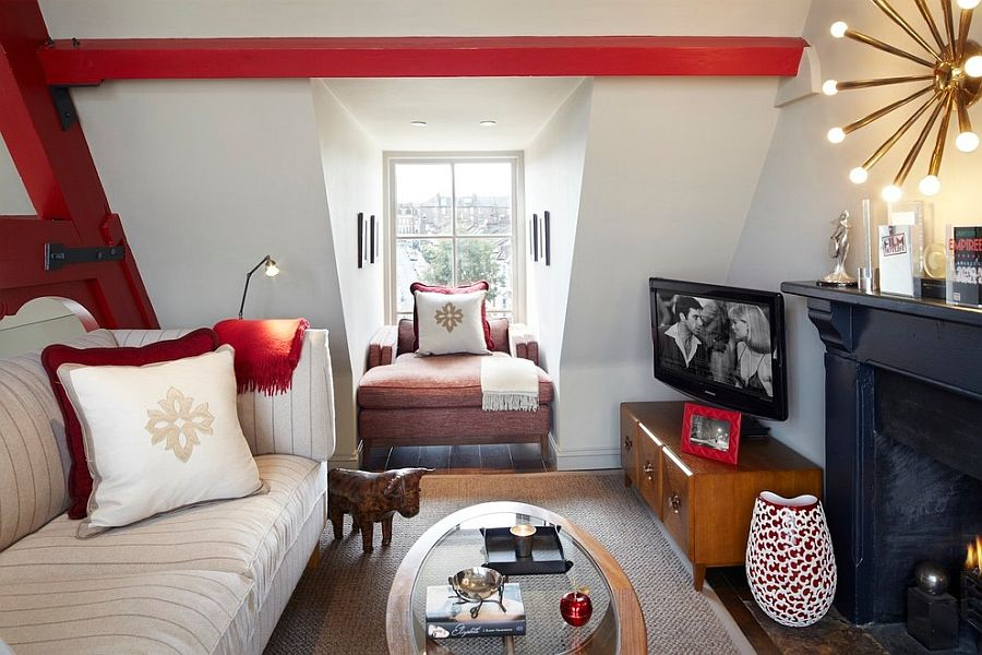 20 Small TV Rooms That Balance Style with Functionality View in gallery Beautiful TV room idea for the small attic space  Design   Naomi Astley Clarke