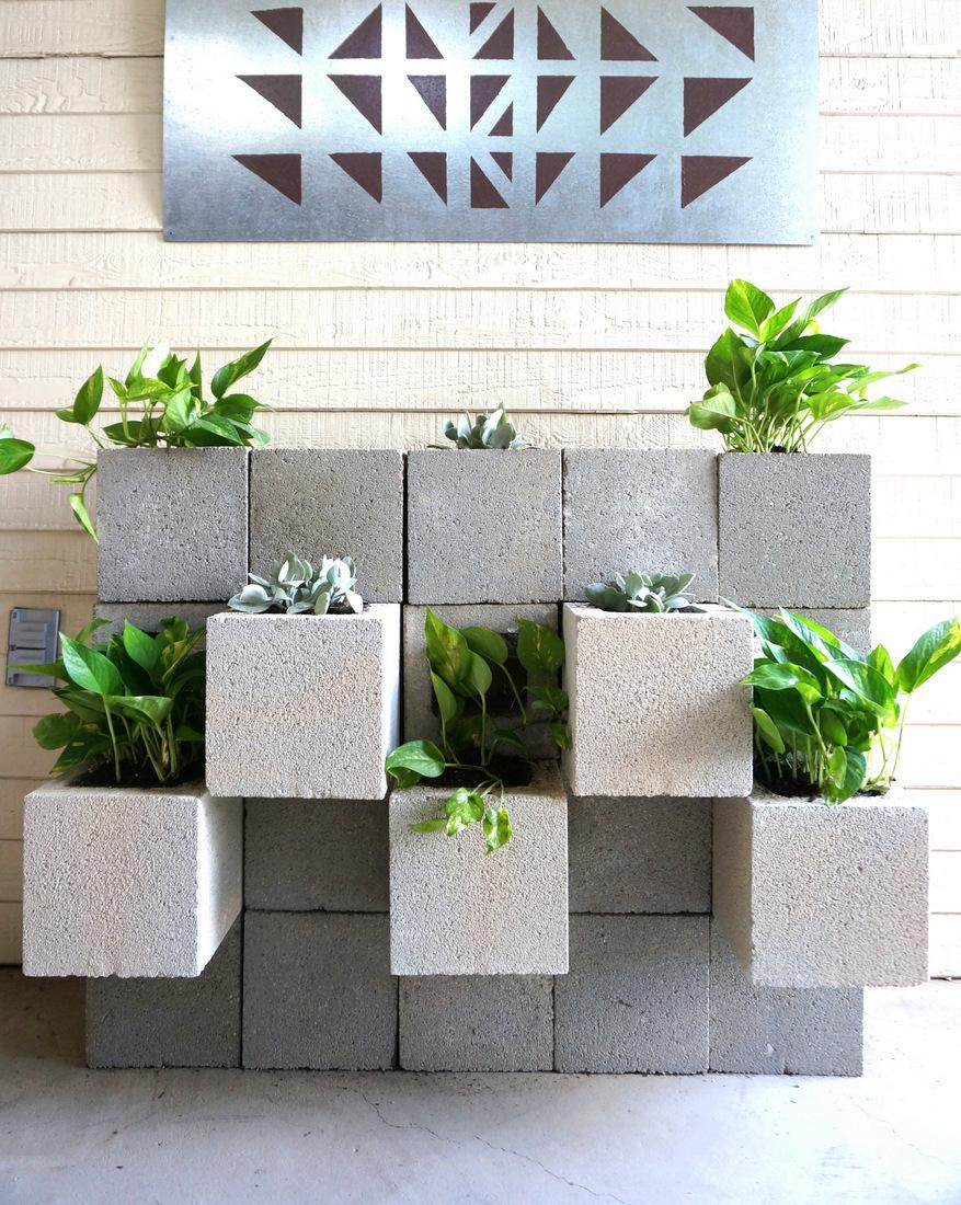 A DIY Cinder Block Succulent Wall with a Twist on Backyard Cinder Block Wall Ideas  id=43080