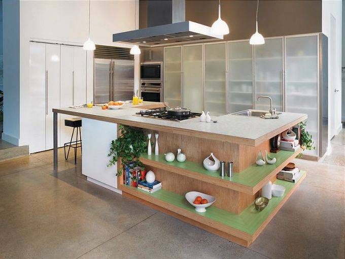 Trendy Display  50 Kitchen Islands with Open Shelving View in gallery Fabulous kitchen island with open shelves  Formica laminate  worktop and ergonomic prep zone