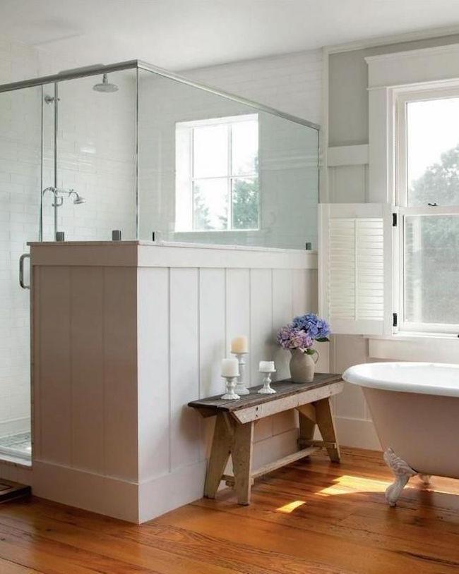 25 Bathroom Bench and Stool Ideas for Serene Seated ... on Rustic Farmhouse Bathroom  id=81737