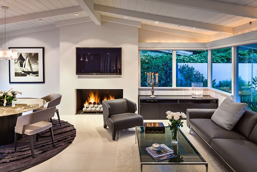 Contemporary living room with gas fireplace and fire pit balls on Living Room Fire Pit id=47422