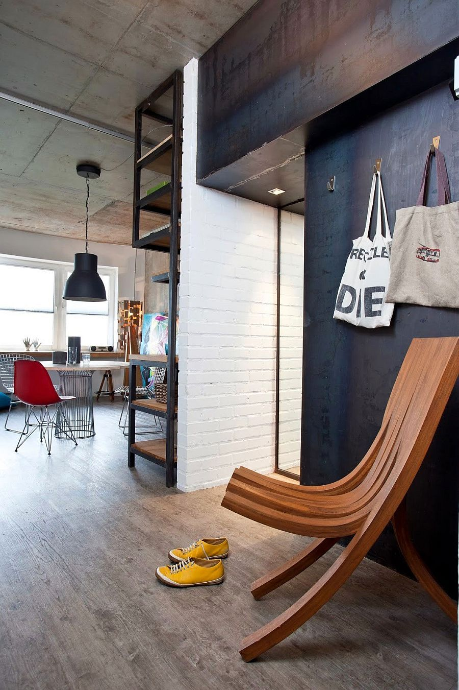 Small Modern Industrial Apartment Draped In Metal Wood And Brick