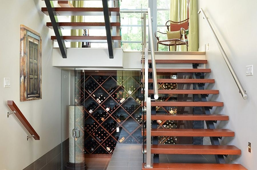 20 Eye Catching Under Stairs Wine Storage Ideas   Stair Designs For Small Areas   Creative   Simple   Steep Stair   Trendy   Living Room