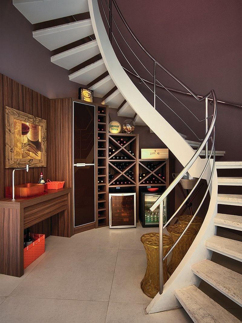 20 Eye Catching Under Stairs Wine Storage Ideas   Round Staircase Designs Interior   Classic   Wooden   Elegant   Showroom   Round Shape Round