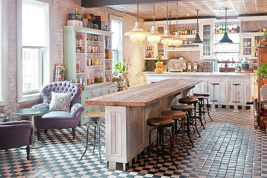 50 Fabulous Shabby Chic Kitchens That Bowl You Over  View in gallery Perfect way to design an inviting and exquisite shabby chic  kitchen bar  From  Soho