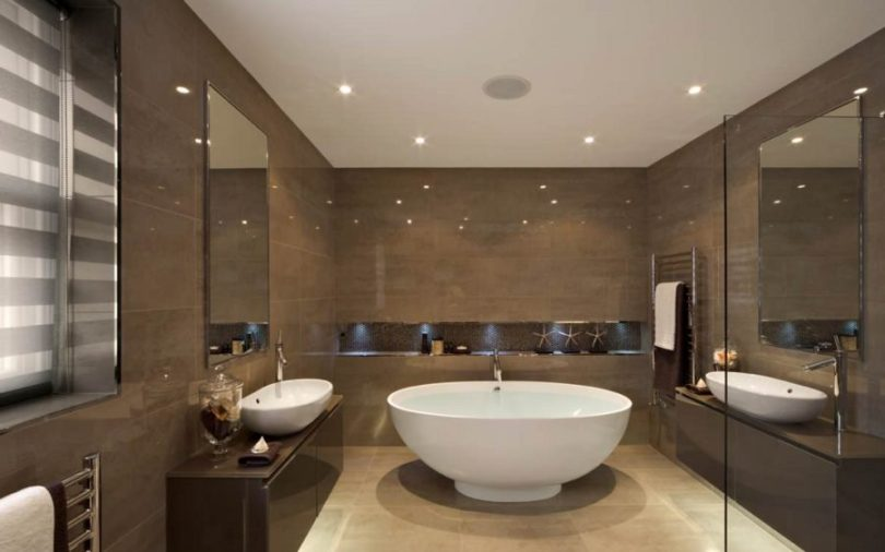 20 Rooms with Ceiling Spotlights View in gallery Recessed ceiling lights in a modern bathroom