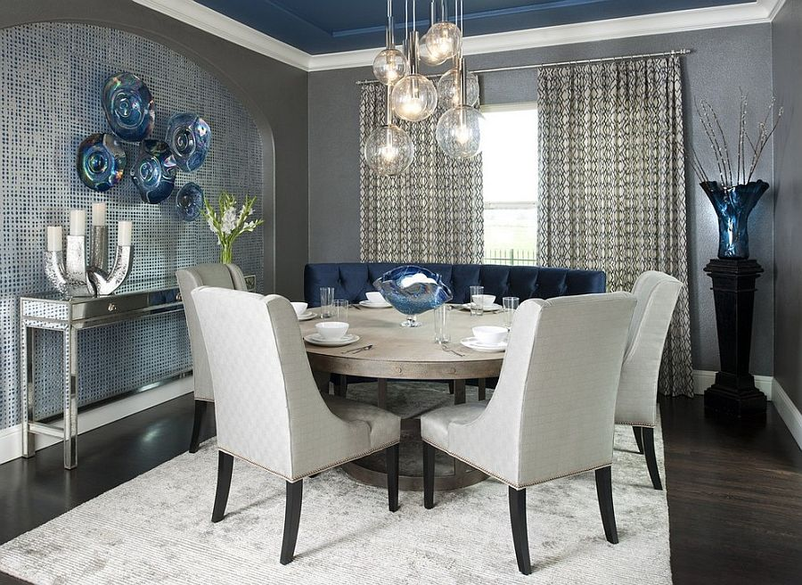 Contemporary Dining Room With A Splash Of Blue, Gray And A