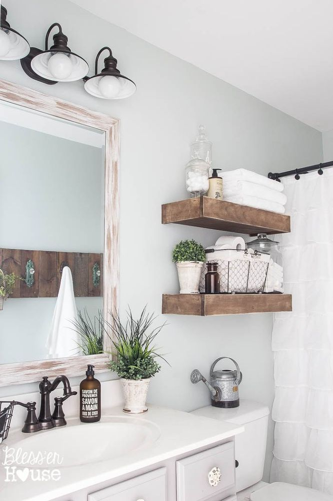 15 Exquisite Bathrooms That Make Use of Open Storage on Rustic Farmhouse Bathroom  id=60962