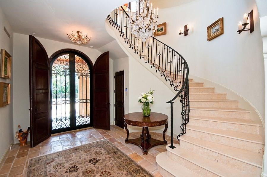 Mediterranean Entry Ideas An Air Of Timeless Majesty | Front Door Stairs Design | Main Door Stair | 2Nd Floor | Villa | Brick | Residential