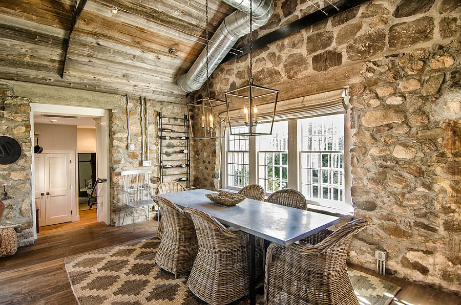 15 Gorgeous Dining Rooms with Stone Walls     Stone wall dining room with cozy cottage charm  Design  Kelly and Co   Design
