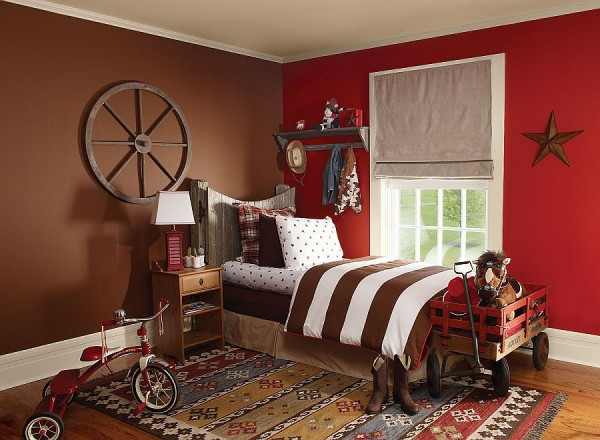 Place the crates near your bed so you can easily reach your books and phone. Baseball themed kids' bedroom with a striking red accent