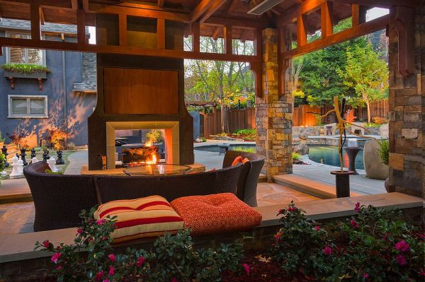 covered outdoor patio living space Sizzling Style: How to Decorate a Stylish Outdoor Hangout