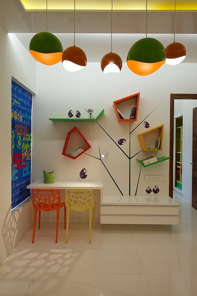 unique shelves for a creative kids room